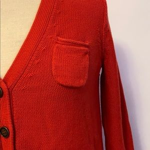 wallace Sweaters - Wallace Red Knit Button Cardigan
